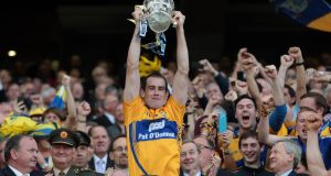 Clare captain Patrick Donnellan lifts the Liam MacCarthy Cup for Clare in 2013. Photo: Morgan Treacy/Inpho