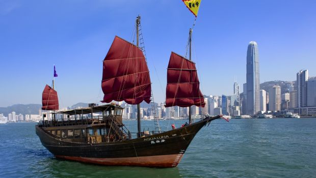 The Aqua Luna, one of Hong Kong's last traditionally-built junk boats.