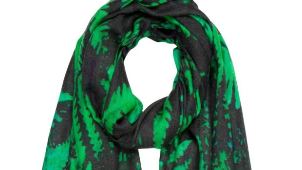 A green and black forest fern print wool scarf by KDK for €90. For stockists visit kdk.ie