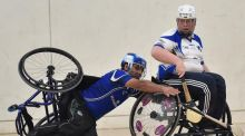 Sultan Kakar of Munster and Shane Curran of Connacht during the M Donnelly wheelchair hurling interprovincial All-Ireland finals at IT Blanchardstown in 2016. Photograph:  Paul Mohan/Sportsfile