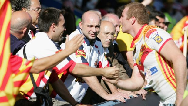 Catalonia spreads into southern France, and the dominant rugby league team in the city of Perpignan is the Catalan Dragons. Photograph: Getty Images