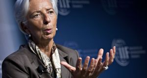 IMF managing director Christine Lagarde speaks at a meeting in Washington on Wednesday, as the organisation expressed concern about a growing debt pile in G20 countries.  Photograph: Andrew Harrer/Bloomberg