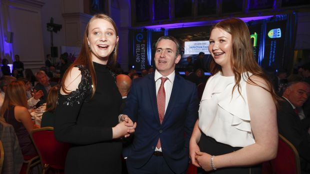 Annie and Kate Madden of FenuHealth and Damien English, Minister of State at the Department of Housing, Planning and Local Government, at the Irish Times Innovation Awards 2017 which took place at the Royal Hospital Kilmainham. Photograph: Conor McCabe