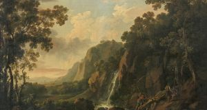 'A Mountainous Wooded River Landscape with Waterfall and Three Figures', an Irish Georgian oil-on-canvas painting by George Barret Snr