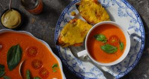 Roasted red pepper and tomato soup with Welsh Rarebit