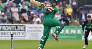 Pakistan batsman Sharjeel Khan in action against Ireland at Malahide in August 2016. The Pakistan Test side will provide the opposition in Ireland's first Test match in Ireland next May. Photograph: Rowland White/Inpho/Presseye