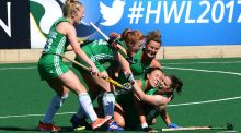 Lizzie Colvin  celebrates with her Ireland team-mates during the 7th-8th place semi-final against India during the FIH Hockey World League at Wits University  in Johannesburg back in July. Photograph: Getty Images