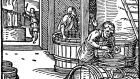 The Beerbrewer, by Jost Amman. Records from January 1565 show stone masons working at a quarry in Clontarf, Dublin, were provided with an allowance of 14 pints of ale per day by the proctor of Christ Church Cathedral
