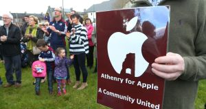 People from Athenry have demonstrated in support of Apple's plans to invest in the town on several occasions in the past couple of years.  Photograph: Joe O'Shaughnessy.