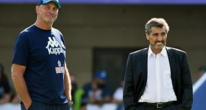 Montpellier  president Mohed Altrad with  head coach Vern Cotter. Photograph: Pascal Guyot/AFP/Getty Images