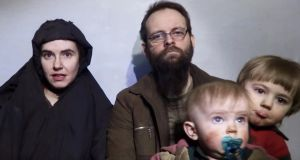 A still image from a video posted by the Taliban on social media in December 2016 of American Caitlan Coleman, her Canadian husband Joshua Boyle, and their two sons. Photograph: Handout/Reuters
