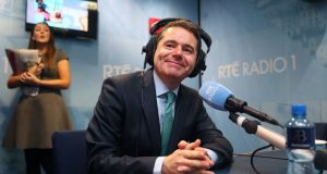 Minister for Finance  Paschal Donohoe in an RTÉ studio. He faced tricky question from listeners of Today with Sean O'Rourke. Photograph:   Brian Lawless/PA Wire