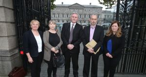 (Left-right) Helen Grogan, Hazel Melbourne, Padraig kissane, Thomas Ryan and Niamh Byrne arrive at Leinster House in Dublin, to give evidence during the Oireachtas Finance Committee. Photograph: Niall Carson/PA Wire