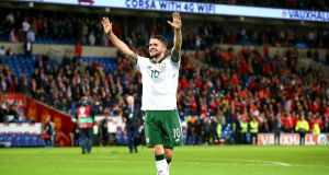 Ireland's Robbie Brady is free to play in November's World Cup qualifiers after escaping punishment for an incident involving Wales' Ashley Williams. Photo: Ryan Byrne/Inpho