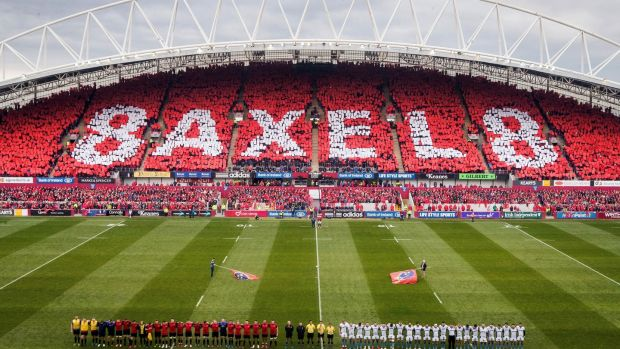 A view of Thomond Park during the minute's silence in memory of Anthony Foley before the Champions Cup game between Munster and Glasgow Warriors at Thomond Park. Photograph: Ryan Byrne/Inpho