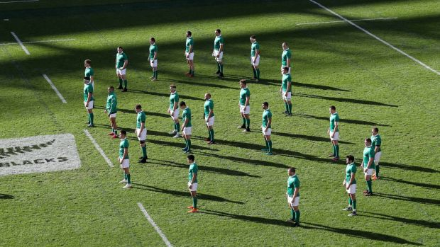 Ireland players line out in a figure of eight to play tribute to Anthony Foley as they face the Haka ahead of the Test match against New Zealand at Soldier Field in Chicago last November. Photograph: Billy Stickland/Inpho