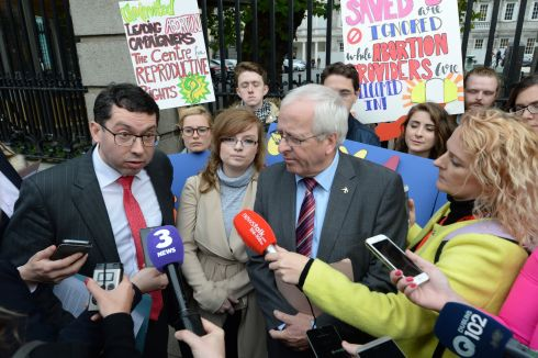 "ABORTION DEBATE: Senator Rónán Mullen and Mattie McGrath TD tell the media they are considering their positions on the ""entirely skewed and unfair"" Oireachtas Committee on the Eighth Amendment. Photograph: Dara Mac Dónaill"