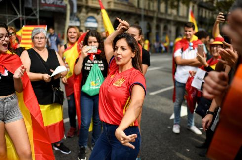 SPANISH NATIONAL DAY: Thousands gathered in Barcelona for a rally against Catalonian independence.  Photograph: Jeff J Mitchell/Getty