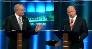 Presidential candidates Sean Gallagher and the late  Martin McGuinness on RTE's The Frontline in 2011.