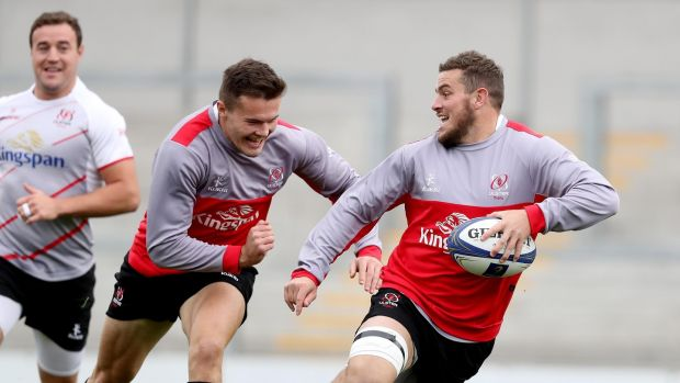 Sean Reidy with Jacob Stockdale during Ulster training ahead of their European opener. Photo: Tommy Dickson/Inpho
