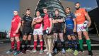 Scarlets' Ken Owens, Ospreys' Ashley Beck, Ulster's Rory Best, Munster's Peter O'Mahony, Glasgow Warriors' Stuart Hogg, Leinster's Isa Nacewa and Benetton Treviso's Dean Budd at the Champions Cup launch in Dublin last week. Photo: Dan Sheridan/Inpho