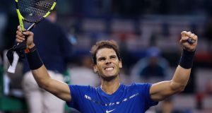Rafael Nadal celebrates after winning his match against Fabio Fognini at the Shanghai Masters, in Shanghai, China. Photograph: Andy Wong/AP