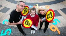 Eoin Gill and Sheila Donegan from Maths Week are pictured with Jadine Rock of Rutland National School in Gloucester Place, Dublin 1, at the launch of Maths Week Ireland - the world's largest festival of maths and numeracy.  Photograph: Shane O'Neill