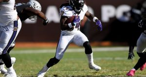 Alex Collins in action for the Baltimore Ravens in the NFL. Photograph: Getty Images