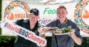 Chef John Relihan (right), and  Patrick O'Sullivan, president of the World BBQ Association,  at the launch of the World BBQ Championships which take place in Limerick this weekend. Photograph:  Arthur Ellis