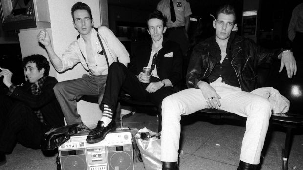 Members of The Clash, momentarily at their ease: from left, Mick Jones, Joe Strummer, Topper Headon and Paul Simonon, at John F Kennedy International Airport after arriving in New York in May 1981. File photograph: David Handschuh/AP Photo