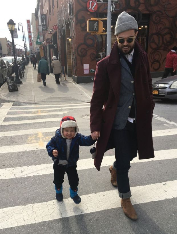 Jeffers strolling in New York with his son, Harland. Photograph: Oliver Jeffers