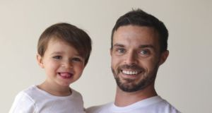 Oliver Jeffers and his son Harland who has proved an inspiration to his doting dad.