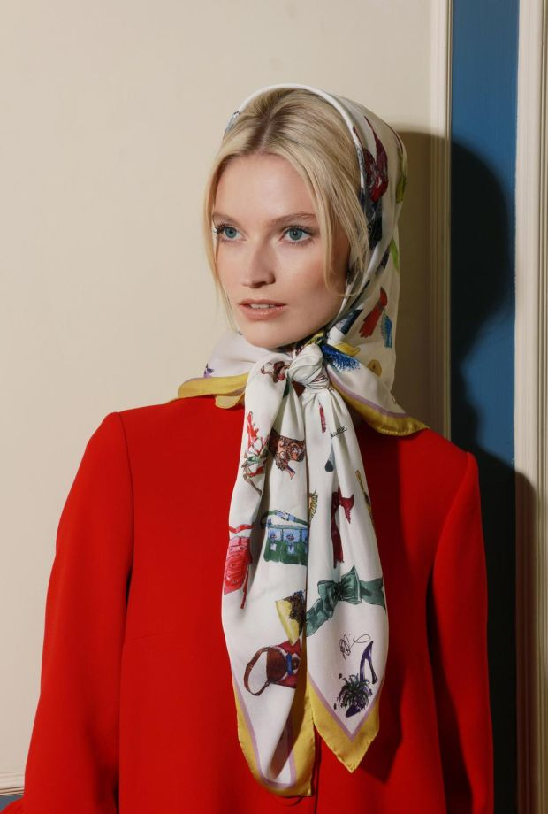 Silk scarf with Peter O'Brien drawings, €85; red coat, €370