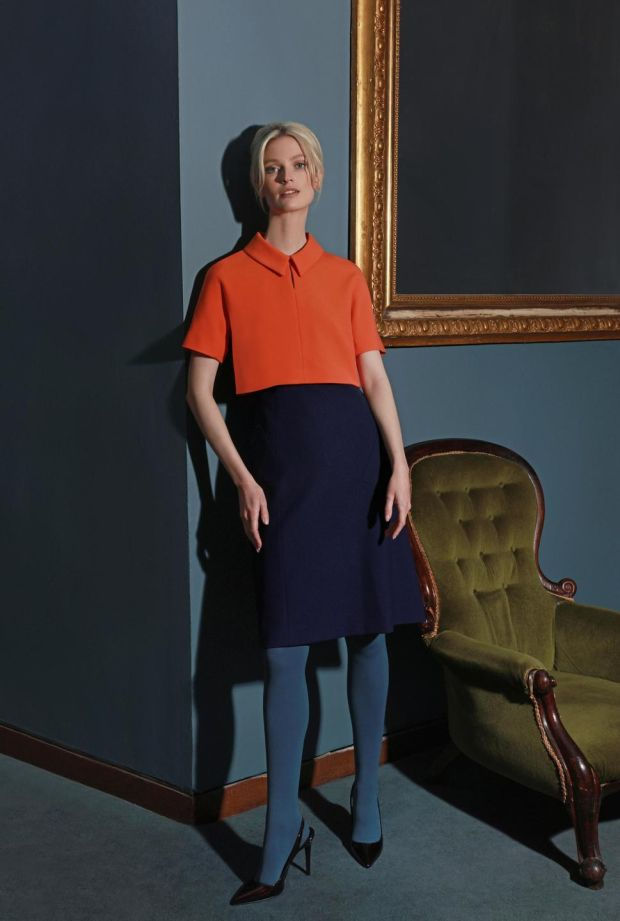 Pleat sleeve shirt, €110; pleat skirt, €145