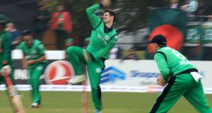 George Dockrell took 3-90 as the Ireland Wolves bowled Bangladesh A out for 337. Photograph: Donall Farmer/Inpho