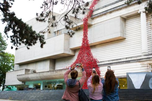 POPPY ART: The sculpture Weeping Window, by Paul Cummins and Tom Piper, at the Ulster Museum, in Belfast.  The poppies will be there until December 3rd. Photograph: Darren Kidd/Press Eye