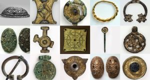 Among the Irish items in the collection were brooches and buckles of gilt bronze, fashioned from decorative fittings, which have been exhibited several times in the National Museum of Ireland in Dublin. Photograph: University of Bergen
