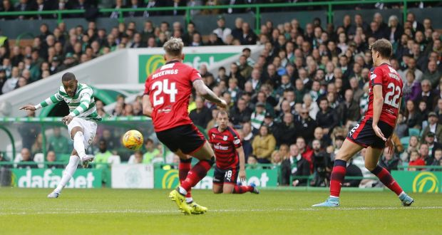 a6bb19aabd Celtic s Jules Olivier Ntcham scores his side s first goal during the  Ladbrokes Scottish Premiership match against