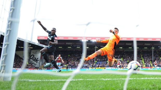 West Ham United's Michail Antonio scores their first goal past Burnley goalkeeper Nick Pope during the Premier League game at Turf Moor. Photograph: Peter Powell/Reuters