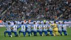 Hertha  Berlin's players take a knee  before the  Bundesliga  match against FC Schalke 04. Photograph: Clemens Bilan/EPA