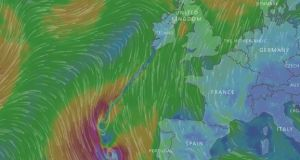 A wind map shows Hurricane Ophelia over the Azores on Sunday. It is expected to hit the west coast of Ireland on Monday morning. Image: windy.com