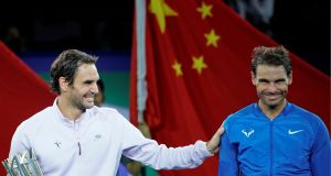 Roger Federer beat Rafael Nadal in straight sets to win the  Shanghai Masters. Photograph: Aly Song/Reuters