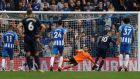 Everton's Wayne Rooney scores from the penalty spot late on to equalise in the Premier League game against Brighton at the Amex Stadium. Photograph: Peter Nicholls/Reuters