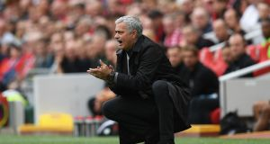 "Jose Mourinho: ""For me, the second half was a bit of chess, but my opponent didn't open the door for me to win the game."" Photograph: Shaun Botterill/Getty Images"