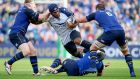 Leinster's James Tracy, Noel Reid and Rhys Ruddock tackle Nemani Nadolo of Montpellier during the  Champions Cup match at the RDS. Photograph:  Tommy Dickson/Inpho