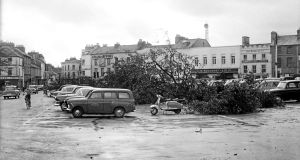 The aftermath of Hurricane Debbie in Eyre Square, Galway, in 1961. Photograph: Connacht Tribune