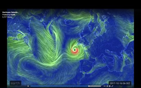 HURRICANE OPHELIA: A visualisation of the path of Hurricane Ophelia. Photograph: The Earth Wind Map website