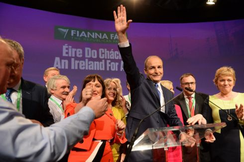 PARTY PIECE: Micheál Martin delivers a leader's address at the Fianna Fáil ardfheis, in the RDS in Dublin. Photograph: Dara Mac Dónaill/The Irish Times