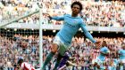 Manchester City's Leroy Sane  celebrates scoring his side's sixth goal during his side's 7-2 victory over Stoke City. Photograph: Alex Livesey/Getty Images