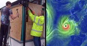 Left: Martin Galvin and his son Adam board up windows in Courtmacsherry Bay, Co Cork, ahead of the arrival of Hurricane Ophelia. Right: A screengrab from the Earth Wind Map website showing a visualisation of the path of Hurricane Ophelia on Monday morning.  Photographs: Denis Boyle and Earth Wind Map